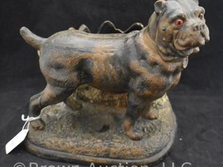 Vintage terra cotta pug dog w glass eyes pipe smoking stand