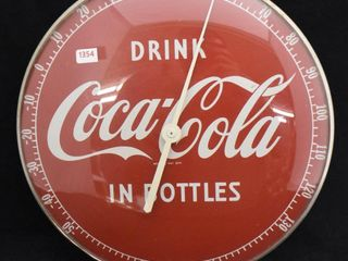 Coca Cola 12  round glass dome advertising thermometer