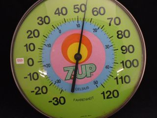 7Up 12  round glass dome advertising thermometer