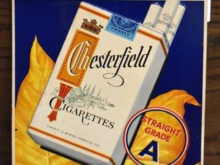 Chesterfield Cigarettes sst embossed advertising sign