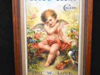 Colorful chromolitho  Smoke love s Glory Cigars  advertising sign  ca  1900