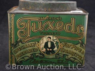 Patterson s Tuxedo tobacco tin w oval raised lid