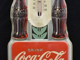 1940 s Art Deco Coca Cola embossed tin advertising thermometer