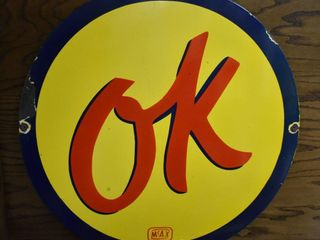 OK Chevy single sided porcelain sign