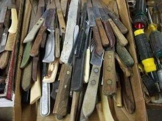 BOX OF VARIOUS TYPES OF KNIVES