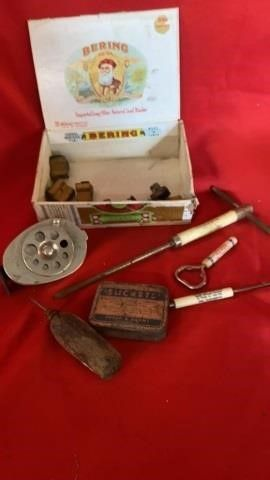 CIGAR BOX WITH STAMPS   PENCIl SHARPENER  OlD