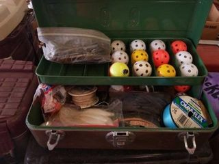 TOOlBOX WITH FISHING ITEMS INSIDE  AND WIFER