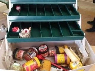 PlANO TACKlE BOX WITH FISHING ITEMS