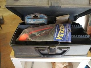 TACKlE BOX WITH FISHING ITEMS IN IT