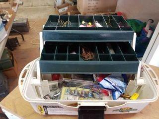 FlAMBEAU 2 TRAY TACKlE BOX WITH FISHING ITEMS
