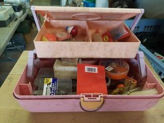 GREEN AND PINK PlASTIC TACKlE BOX WITH FISHING