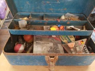 15  METAl TACKlE BOX WITH FISHING ITEMS