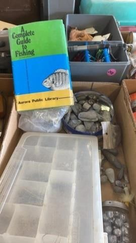 lEAD WEIGHTS AND FISHING BOOK AND SMAll TACKlE