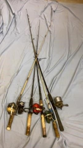 5 FISHING POlES AND REElS