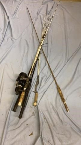 6 FISHING POlES   4 WITH REElS