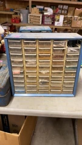 HARDWARE ORGANIZER CABINET WITH HARDWARE IN MOST