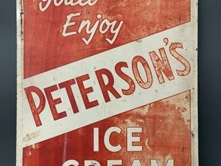 Old Tin Peterson s Ice Cream Double Sided Sign