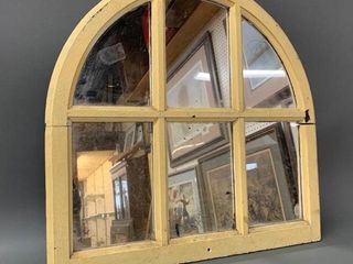 Antique Arched Top Window Frame Mirror