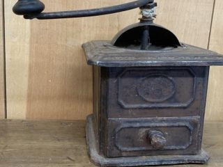 Unusual Tin Type Over Wood Coffee Grinder
