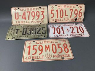 5 Quebec license Plates Various Years