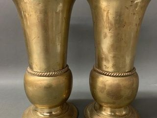 Pair of Antique Heavy Solid Brass Urns