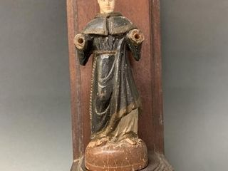 Early 1800 s Carved Monk Figure on Wall Mount