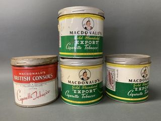 4 Old Tobacco Tins MacDonald s American and Britis