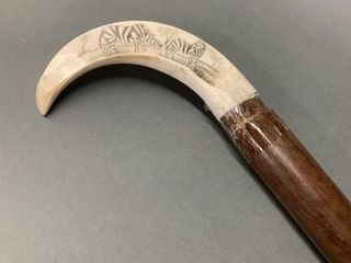 Carved African Horn Tipped Walking Stick 36