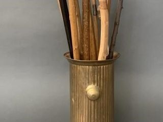 Brass Cane Stand with Many Canes