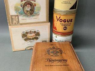 lot Tobacco Boxes and Tins