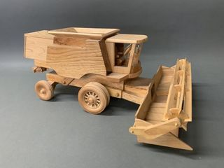 Hand Made Wooden Scale Model Combine