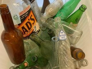 Many Early Soda and Misc  Bottles as Found
