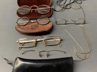 lot of Many Old Piece of Eyewear and Cases