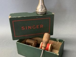 Singer Sewing Box with Oiler and Misc