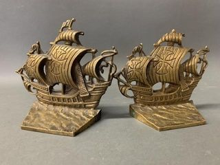 Pair of Heavy Brass Santa Maria Bookends