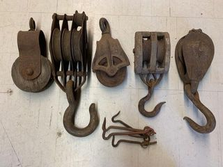 Several Old Pulleys and Door latches