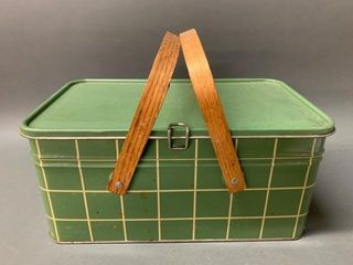 Mid Century Picnic Basket with Wooden Handles