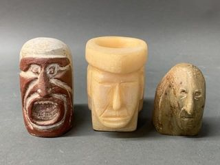 3 Native Carvings 2 Signed