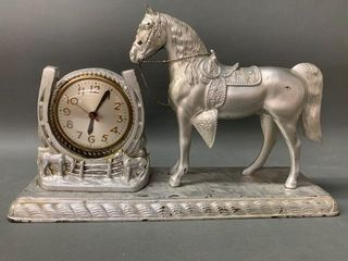 Early Figural Horse Clock Working