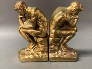 1929 Brass  The Thinker  Bookends