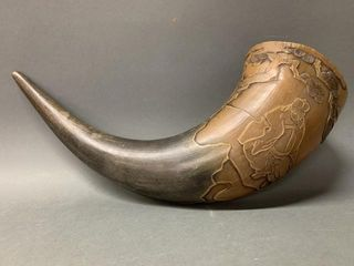 large Chinese Carved Horn