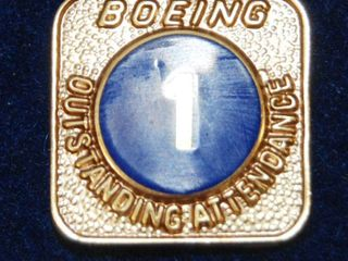 Vintage Boeing 1 Year Outstanding Attendance Pin w  Case