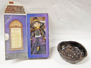 Hallmark Collectible  Vintage Doll  Winifred Witch  and a Coin bowl  Ceramic