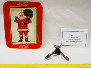Collectible  Drink Coca Cola     Merry Christmas to You    Plate  HA5692   Franklin Mint Heirloom   1996  w Stand