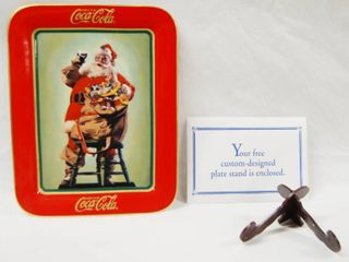 Collectible  Drink Coca Cola     Hospitality    Plate  HA1734   Franklin Mint Heirloom   1996  w Stand  9x7