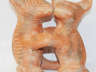 large Mexico Terra Cotta Clay Art   Two Dogs