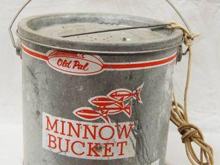 Vintage Minnow Bucket  w Wooden Handle