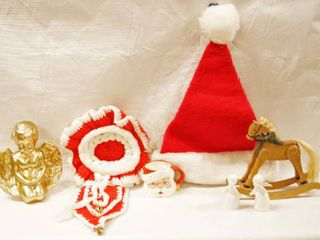 lot of Christmas Decor  Angels  Wall Hanger  Santa Cup  Santa Hat  Rocking Horse