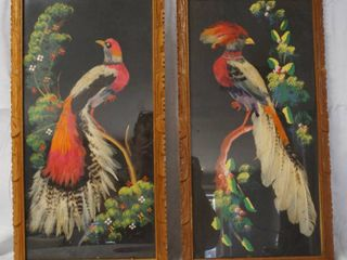 Vintage Wall Hanging Pictures  with Real Feathers  approx  21  H x 10  W  Was Given as a Present in 1957