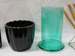 lot of Flower Pots    Green Glass Vase   Misc
